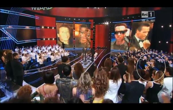 """""""I migliori anni"""" - RAI1 - 25.01.2013 - Ripresa sul pubblico durante l'ingresso di Arnold Schwarzenegger sul palco. Nel cerchio ci siamo Antonella, io e Paolo."""