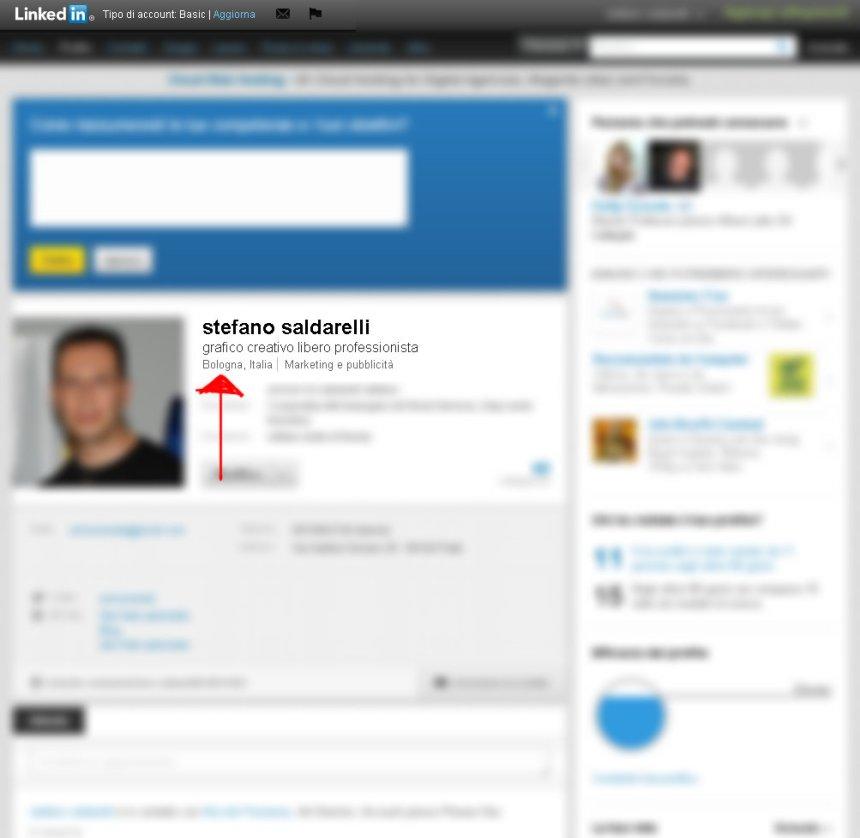 La mia pagina Linked in. Giuro che Bologna in questo caso è Prato