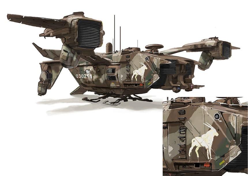 Elysium - navetta del mercenario Kruger - design TyRuben Ellingson
