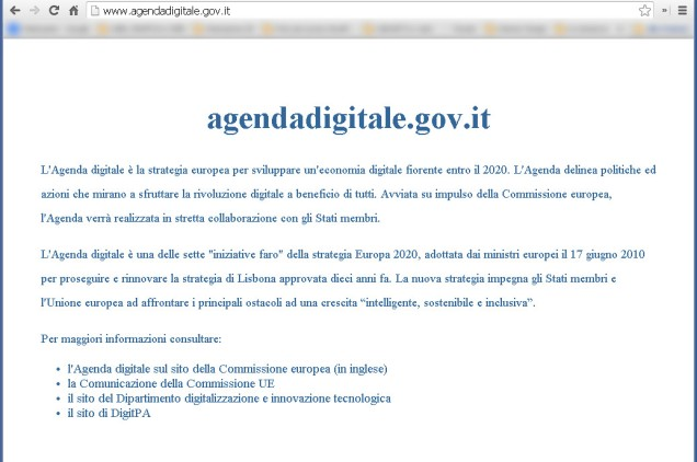 Home Page del sito http://www.agendadigitale.gov.it/