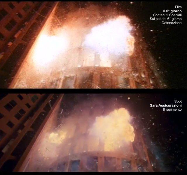 Fotogrammi a confronto tra il film Il 6° giorno e lo spot Sara Assicurazioni