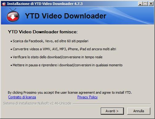YTD Video Downloader - prima schermata d'installazione