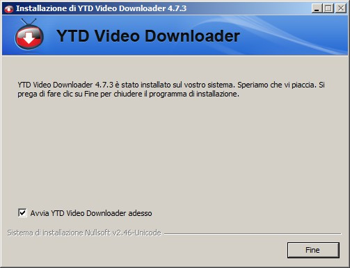 YTD Video Downloader - ultima schermata d'installazione