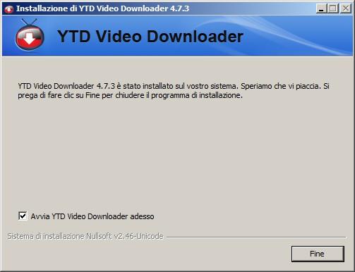 YTD Video Downloader - ultima schermata d'installazione