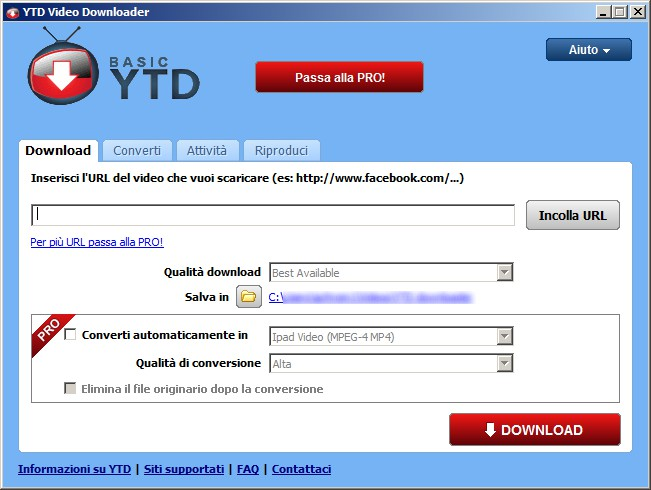 YTD Video Downloader - interfaccia software