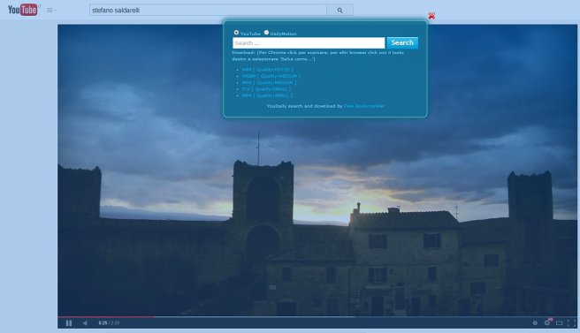 Esempio: Su YouTube cercate Stefano Saldarelli e poi sul video Monteriggioni attivate + YouDaily e comparirà la finestra nella quale troverete i vari formati video da scaricare.