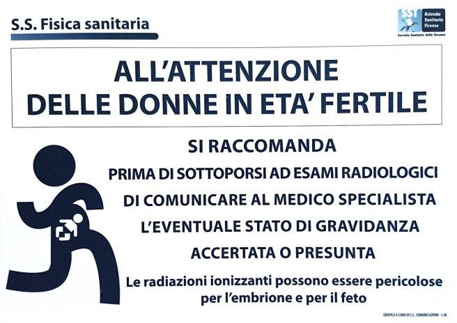 Cartello affisso al reparto di Radiologia dell'Ospedale Santa Maria Annunziata di Firenze.