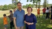 Inaugurazione panchina rosa e azzurra a Larciano - Stafano Saldarelli e Roberta Romani presidentessa Associazione Annastaccatolisa