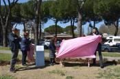 Inaugurazione panchina rosa a Prato col sindaco Matteo Biffoni